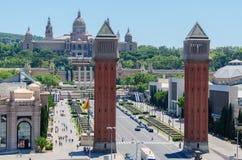 Venetian Towers lead the way to the MNAC Barcelona Spain. Venetian Towers lead the way to the MNAC (Fine Arts Museum) via Avinguda de la Reina Maria Cristina in Stock Image