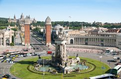 Venetian Towers and National Place on Plaza de Espana in Barcelona stock image