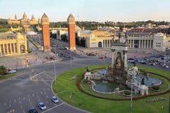 Venetian Towers, Plaza de Espana, Fine Arts Museum of Barcelona, Spain Royalty Free Stock Photography