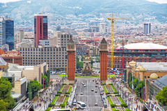 Venetian towers on Plaza de Espana on Montjuic in Barcelona Royalty Free Stock Images