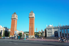 Venetian towers on Plaza de Espana of Montjuic in Barcelona Royalty Free Stock Image