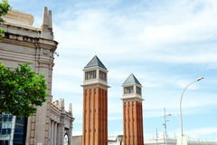 Venetian towers in Plaza de Espana Square of Spain, Barcelona. Spain Royalty Free Stock Images