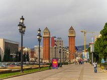 The Venetian Towers in Square of Spain, Barcelona stock photos