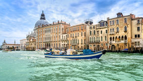 Venetian transport. Much traffic on the Grand Canal in Venice stock photo