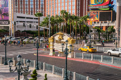 The Venetian and Treasure Island Hotel and Casinos, view of monu Stock Images