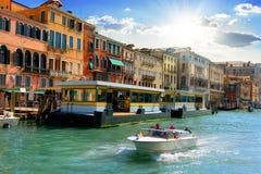 Venetian vaporetto stop Stock Photography