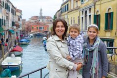 Venetian view and family Stock Images