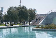 The Venetian water channels in Baku  city on the sea embankment Royalty Free Stock Images