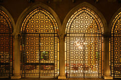 Venetian window screens at night Royalty Free Stock Images