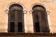 Venetian windows. With blinds and ornament Stock Photography