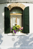 Venetian windows with flowers Stock Photo