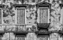 Venetian Windows, Italy. Detail of an old building's windows in Venice, Italy. Black and white photo Stock Images