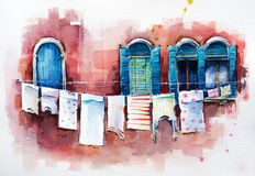Venetian windows.  Watercolor painting. Windows of Venice, architectural detail.   Watercolor painting Stock Image
