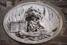 Venetian winged lion bas-relief Stock Photography