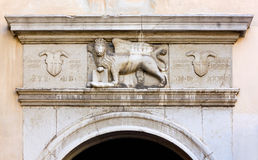 Venetian Winged Lion over Town Gate in Piran Royalty Free Stock Image