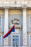 Venetian Winged Lion on Town Hall Facade in Piran Stock Images
