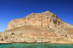 Venetianische Festung auf der Insel Gramvousa, Griechenland Stockfotos