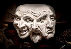 Venetianische Maske mit den Ausdrücken - glücklich, wütend, traurig Stockfoto