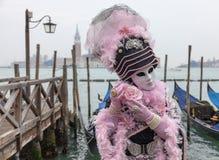 Venetianische Maske mit Rose Lizenzfreies Stockbild