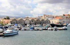Venetianische Werfte in Chania Kreta, Griechenland Stockbilder