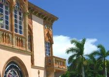 Venetianischer gotischer Balkon Stockfoto