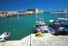 Venetianischer Hafen und Castro-Festung Iraklion, Griechenland Lizenzfreie Stockfotografie
