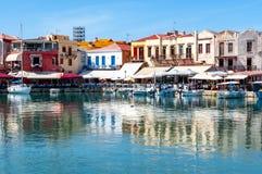 Venetianischer Hafen von Rethymnon, Kreta-Insel, Griechenland lizenzfreie stockfotos