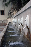 Venetianischer Löwekopfbrunnen, Spili, Kreta, Griechenland stockfotos