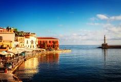 Venetianisches habour von Chania, Kreta, Griechenland lizenzfreies stockfoto