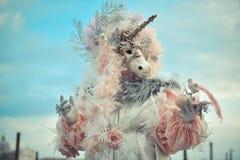 Venetianisches Maskenmodell Carnival 2016 Quadrat Sans Marco Lizenzfreie Stockfotos