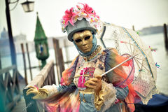 Venetianisches verdecktes Modell vom Venedig-Karneval 2015 Lizenzfreie Stockfotos