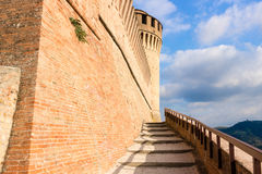 Venetians medieval  Fortress in Brisighella. The brick walls of the medieval Fortress of Venetians in Brisighella Royalty Free Stock Photography