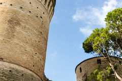 Venetians medieval  Fortress in Brisighella. The brick walls of the medieval Fortress of Venetians in Brisighella Royalty Free Stock Images