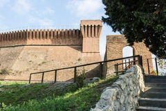 Venetians medieval  Fortress in Brisighella. The brick walls and the entry to the medieval Fortress of Venetians in Brisighella Royalty Free Stock Photography