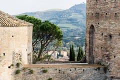 Venetians medieval Fortress in Brisighella. The brickwalls of the medieval Fortress of Venetians in Brisighella Stock Photo