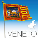 Veneto flag and map, italy, Flag of Saint Marco Stock Image