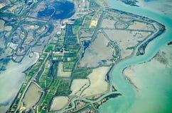 Veneto salt marshes, aerial view. Aerial view of the salt marshes surrounding the Venetian lagoon.  La Barena, Jesolo coast, Italy Stock Images