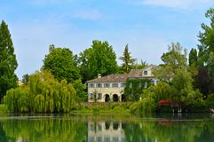Veneto Tourism. Picture taken from a boat on the Sile river, in the Treviso Province, Veneto, Italy stock photo