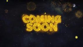 Venez bientôt des souhaits des textes indiquent de la carte de voeux de particules de feu d'artifice illustration stock