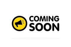Venez bientôt signe avec le mégaphone d'annonce Illustration plate de vecteur sur le fond blanc illustration stock
