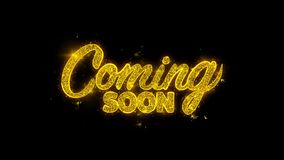 Venez bientôt typographie écrite avec les feux d'artifice d'or d'étincelles de particules illustration stock