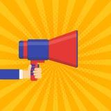 Venez bientôt bannière de vecteur Mégaphone d'annonce illustration de vecteur