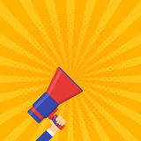 Venez bientôt bannière de vecteur Mégaphone d'annonce Image stock
