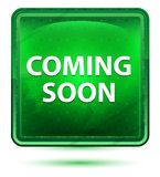 Venez bouton carré vert clair bientôt au néon illustration de vecteur