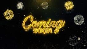 Venez particules bientôt écrites d'or éclatant l'affichage de feux d'artifice illustration libre de droits
