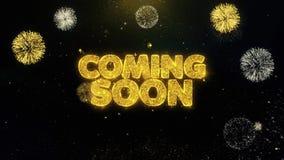 Venez particules bientôt écrites d'or éclatant l'affichage de feux d'artifice illustration stock