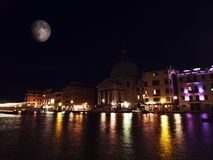 Veneza e a lua Fotografia de Stock Royalty Free