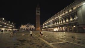 Veneza, Itália - 5 de agosto de 2018: Praça San Marco na noite, Veneza filme