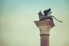 Veneza, o leão e o pombo Fotos de Stock