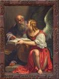 Veneza - pintura de St Matthew o evangelista na igreja Santa Maria della Salute por Antonio Triva da Reggio (1626 - 1699) Imagens de Stock Royalty Free